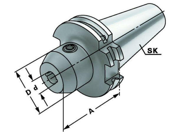 Weldon Spannfutter 25 mm mit Kühlkanälen, SK 40, DIN 69871, Form AD/B, G6,3 bei 15.000 1/min