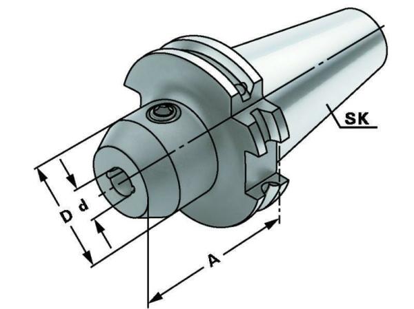 Weldon Spannfutter 8 mm mit Kühlkanälen, SK 40, DIN 69871, Form AD/B, G6,3 bei 15.000 1/min