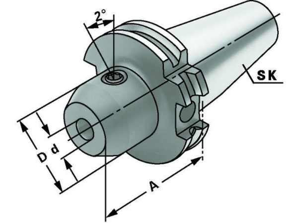 Whistle Notch Spannfutter 8 mm, SK 40, DIN 69871, Form AD/B, G6,3 bei 15.000 1/min