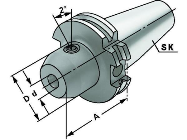 Whistle Notch Spannfutter 25 mm, SK 50, DIN 69871, Form AD/B, G6,3 bei 15.000 1/min