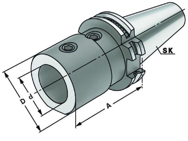 Wendeplattenbohrer Spannfutter, E1, SK 50, DIN 69871, Form AD/B, G6,3 bei 15.000 1/min