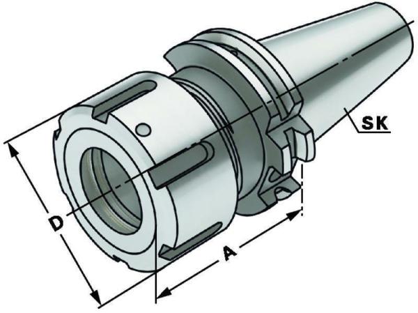 Spannzangen Spannfutter - OZ25, SK 50, DIN 69871, Form AD/B, G6,3 bei 15.000 1/min