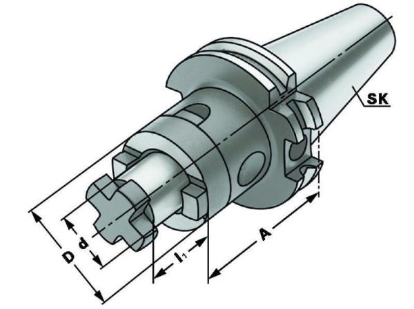 Kombi-Aufsteckfräserdorn 27 mm, SK 40, DIN 69871, Form AD/B, G6,3 bei 15.000 1/min