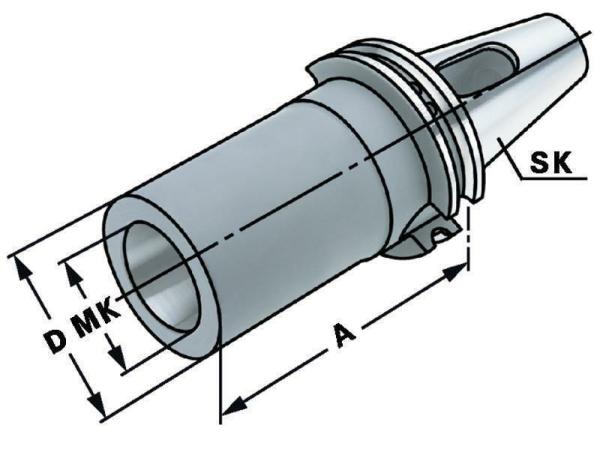 Zwischenhülse für MK2 mit Austreiblappen nach DIN 6383, SK 50, DIN 69871, Form AD/B, G6,3 bei 15.000 1/min