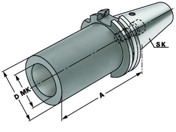 Zwischenhülse für MK2 mit Anzugsgewinde nach DIN 6364, SK 50, DIN 69871, Form A, G6,3 bei 15.000 1/min