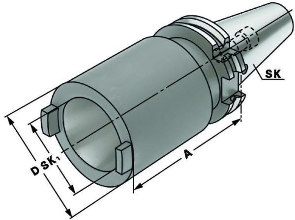 Zwischenhülse für Steilkegel SK 40 auf SK 40, DIN 69871, Form A, G6,3 bei 15.000 1/min