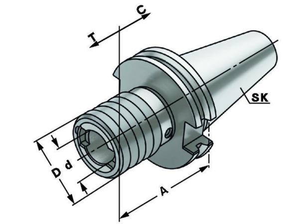 Gewindeschneid-Schnellwechselfutter mit Längenausgleich Größe 1, SK 50, DIN 69871, Form A, G6,3 bei 15.000 1/min