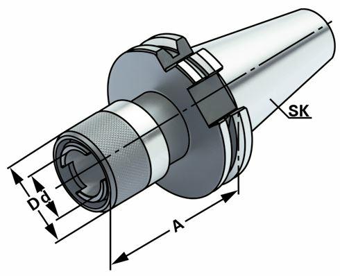 Gewindeschneid-Schnellwechselfutter ohne Längenausgleich Größe 2, SK 30, DIN 69871, Form AD, G6,3 bei 15.000 1/min