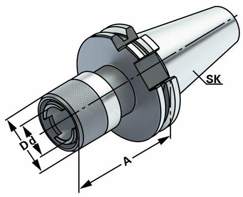 Gewindeschneid-Schnellwechselfutter ohne Längenausgleich, SK 40, DIN 69871, Form AD, G6,3 bei 15.000 1/min