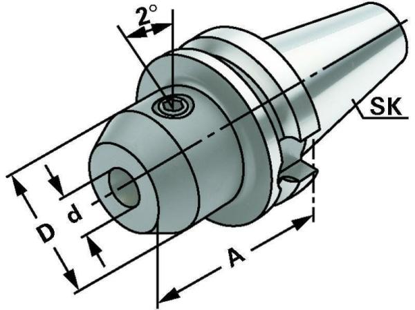 Whistle Notch Spannfutter 8 mm, MAS BT 50, ISO 7388-2, JIS B 6339, Form AD/B, G6,3 bei 15.000 1/min