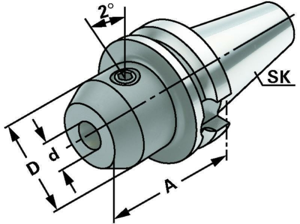 Whistle Notch Spannfutter 40 mm, MAS BT 50, ISO 7388-2, JIS B 6339, Form AD/B, G6,3 bei 15.000 1/min