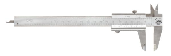 Taschenmessschieber 0-150 mm für Linkshänder mit Tiefenmaß und Feststellschraube