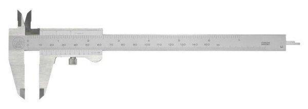 Präzisions-Taschenmessschieber 0-150 mm mit parallaxfreier Ablesung, Doppel-Prismenführung, Tiefenmaß und Feststellschraube