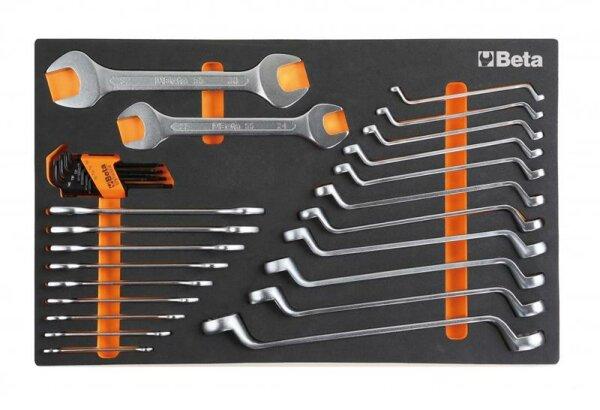 BETA Easy Werkzeugsortiment - Ring-Maulschlüssel, Ringschlüssel gekröpft, Torx Stifschlüssel, 30-tlg. im Soft-Modul-Einsatz