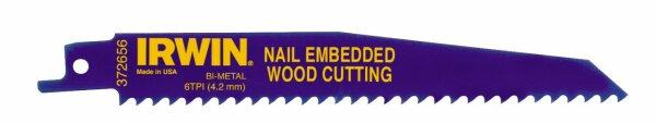 IRWIN Bi-Metall-Säbelsägeblatt für nageldurchsetztes Holz 656R, 150 mm, 6TPI, 1 Pkg. = 5 Stk.