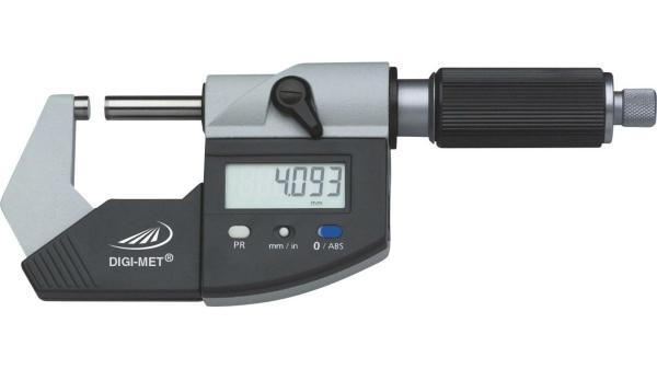 Digitale Bügelmessschraube 0-25 mm, Ablesung 0,001 mm, DIN 863-1, Datenausgang