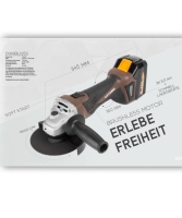 KEYANG 18V Akku-Winkelschleifer BRUSHLESS 125mm, M14, 2 x...